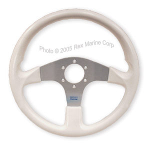 White marine steering wheel